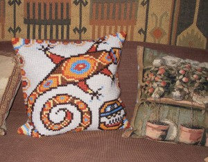 Mayan lizard cushion