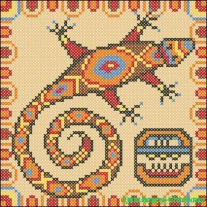 Mayan Lizard crosst stitch chart