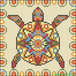 Mayan turtle cross stitch chart