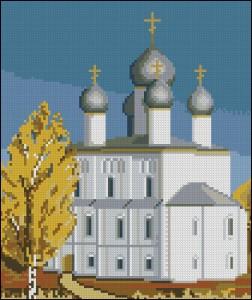 Схема для вышивки крестиком Церковь Спаса-на-Песках осенью