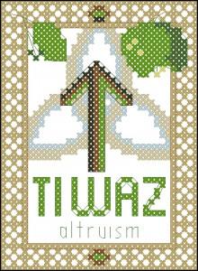 Rune Tiwaz (Altruism) cross stitch chart