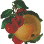 Vintage apple and cherries cross stitch pattern