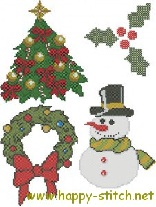 Christmas pack of cross stitch charts: fur tree, holly, wreath, snowman