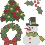 Christmas cross stitch patterns: holly, snowman, wreath
