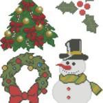 <!--:en-->Christmas cross stitch patterns: holly, snowman, wreath<!--:--><!--:ru-->Новогодние схемы для вышивки: ёлка, снеговик и гирлянда<!--:-->