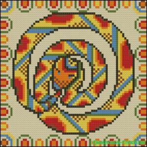 Схема для вышивки крестом Змея вечности