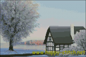 Snow scenery cross stitch pattern