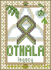 Othala rune cross stitch chart
