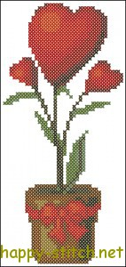 Valentine's Day Flower Plant cross stitch chart