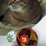 My cat and two temari balls