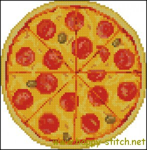 Pepperoni pizza cross stitch pattern