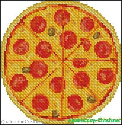 Схема вышивки крестом Пицца