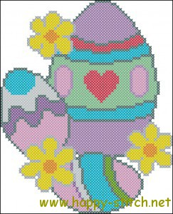 Easter eggs cross stitch chart