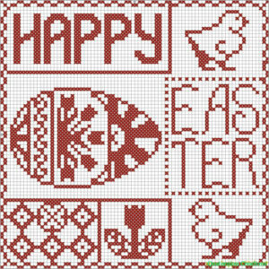 Happy Easter cross stitch sampler