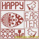 <!--:en-->Happy Easter cross stitch sampler<!--:--><!--:ru-->Пасхальная схема для вышивки Happy Easter<!--:-->