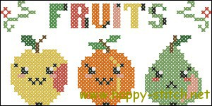 Cute fruits cross stitch pattern