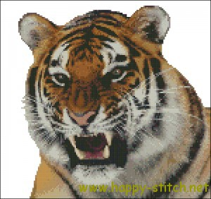 Growling Tiger cross stitch pattern