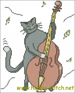 Jazz Cat cross stitch pattern