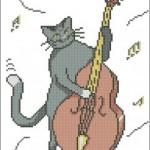"<!--:en-->Jazz Cat cross stitch pattern<!--:--><!--:ru-->Схема для вышивки крестом ""КОТрабасист""<!--:-->"