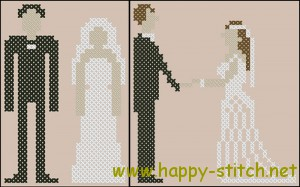 Two pixel art wedding couples