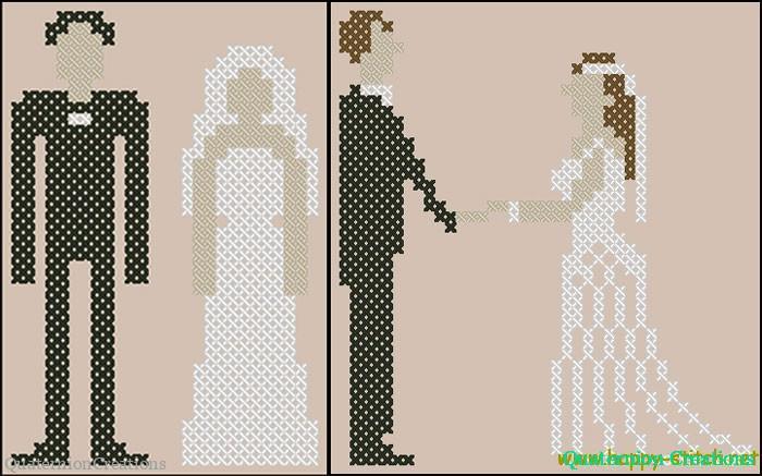 Жених и невеста в стиле пиксел