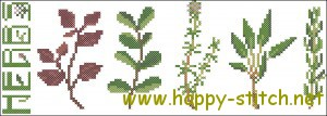 Culinary herbs cross stitch pattern