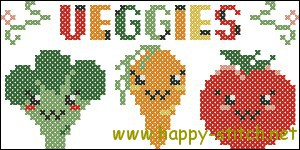 Cute veggies cross stitch chart