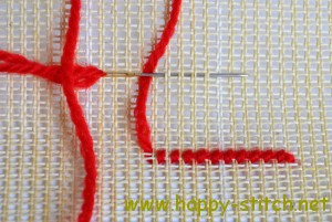 Basics row of cross stitches - back