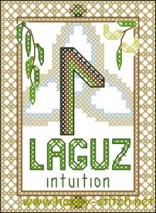 Rune Laguz (water) cross stitch chart