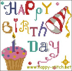 Happy Birthday cross stitch pattern