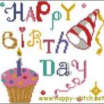 <!--:en-->Happy Birthday cross stitch pattern<!--:--><!--:ru-->Схема для вышивки открытки на День Рождения<!--:-->