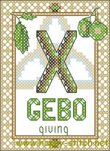 Gebo rune cross stitch chart