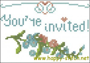 Wedding invitation cross stitch chart