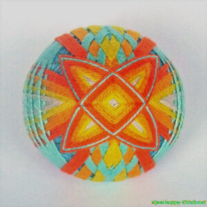 Multi-layered temari with interwoven spindles