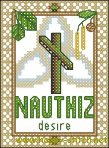 Nauthiz rune cross stitch chart