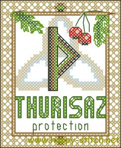 Thurisaz rune cross stitch chart