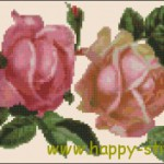 Two vintage roses cross stitch chart