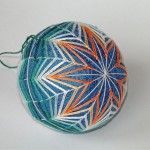 Blue and green kiku temari