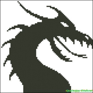 Dragon silhoette cross stitch pattern