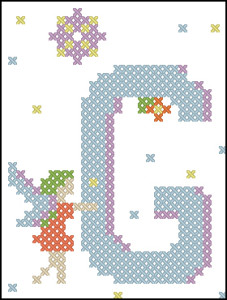 Fairy alphabet G cross stitch chart