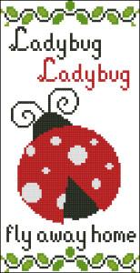 Ladybug cross stitch chart