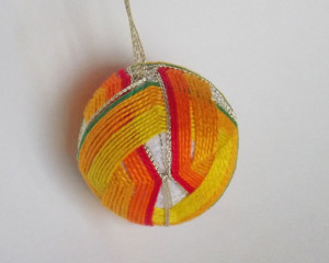 Yellow, red and green temari