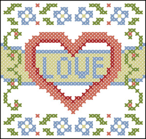 Love and flowers cross stitch chart