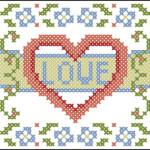 "<!--:en-->Love and flowers small cross stitch pattern<!--:--><!--:ru-->Схема для вышивки ""Love"" с цветочной рамочкой<!--:-->"