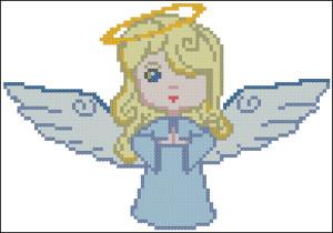 Схема для вышивки Ангел в голубом цвете