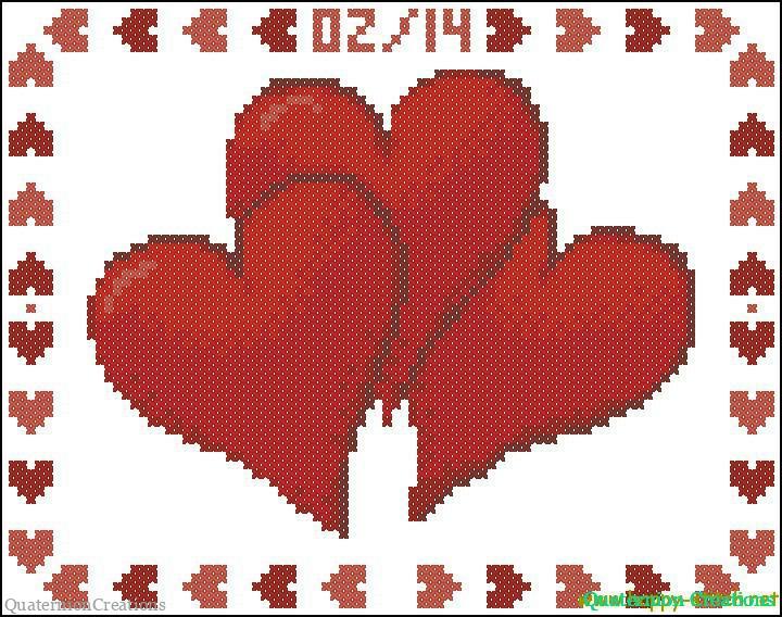Схема для вышивки Три сердечка !