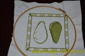 Avocado cross stitch