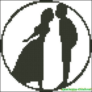 Kissing couple cross stitch chart