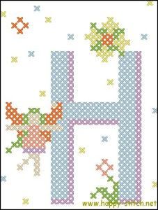 Fairy alphabet H free cross stitch pattern