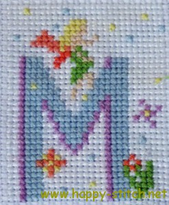 Fairy alphabet M embroidered